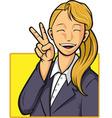 Cartoon of Happy Office Worker Girl vector image