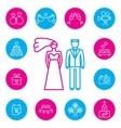 Wedding bride and groom flat icons set vector image