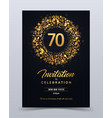 70 years anniversary invitation card template vector image vector image