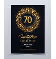 70 years anniversary invitation card template vector image