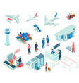 airport icons on white background vector image vector image