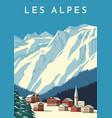 alps travel retro poster vintage banner mountain vector image