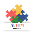 autism awareness day colorful puzzle game card vector image vector image