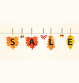 autumn sales banner with leaves on rope vector image vector image