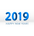 blue 2019 symbol happy new year isolated on white vector image vector image