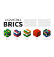 brics flag association 5 countries 3d cubic vector image