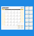 calendar planner for 2019 year stationery design vector image vector image