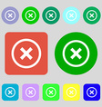 Cancel icon no sign 12 colored buttons Flat design vector image vector image