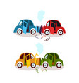 car accident head on and rear end collision set vector image
