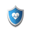Cardiology protection heart shield icon blue vector image