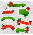 christmas ribbon set isolated vector image vector image