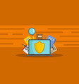 computer protection banner flat style vector image