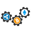 cryptocurrency conversion gears flat icon vector image