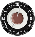 Cup of cocoa on big clock Coffee break Tea time vector image vector image