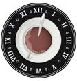 Cup of cocoa on big clock Coffee break Tea time