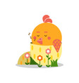 cute cartoon chick sleeping in his shell yellow vector image vector image