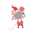 cute mouse holding candy cane and lollipop cute vector image vector image