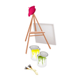 Easel and Paint Cans with Brush and Beret vector image vector image