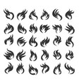 fire flame icon set vector image vector image