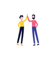 flat men giving high five gesture vector image vector image