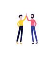 flat men giving high five gesture vector image
