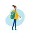flat of walking girl with vector image