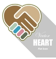 Handshake in a heart shape vector image vector image