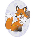 happy fox girl with red ribbon sitting in winter s vector image