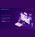 landing page about content marketing vector image
