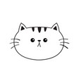 linear cat sad head face silhouette icon contour vector image