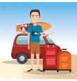 man character on the beach vector image