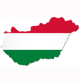 Map of Hungary with national flag vector image vector image