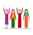 muslim girls or arab girls girls stand in the vector image vector image