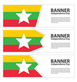 myanmar flag banners collection independence day vector image vector image