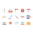 pack of flat dental icons vector image vector image