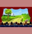 people sitting in cinema watching movie back rear vector image vector image