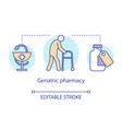 pharmacy concept icon geriatric patient treatment vector image vector image