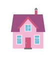 pink house icon isolated on white background vector image