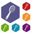 pumice icons set hexagon vector image vector image