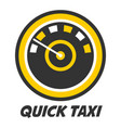 quick taxi emblem logo design with color vector image
