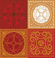 red scuares-Indian ornament set vector image vector image