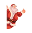 Santa Claus looking from behind the wall with vector image vector image