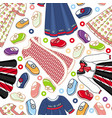 seamless pattern of little girl dresses and shoes vector image vector image