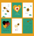 set of love cards with cute bees vector image vector image