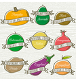 set of organic vegetable and fruit vector image vector image