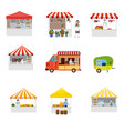 set outdoor street food festival canopy tent vector image vector image