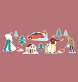 set stickers family parents and kids shoveling vector image
