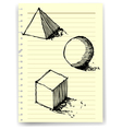 sketch drawing of geometry on lined paper vector image vector image