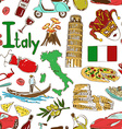 sketch italy seamless pattern vector image