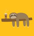 sloth sleeping on tree branch cute lazy cartoon vector image